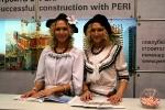 Стендистки на стенде PERI. Встреча гостей