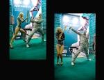 Шоу на выставке, модель боди-арт и артист